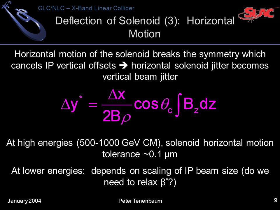January 2004 GLC/NLC – X-Band Linear Collider Peter Tenenbaum 9 Deflection of Solenoid (3): Horizontal Motion Horizontal motion of the solenoid breaks the symmetry which cancels IP vertical offsets  horizontal solenoid jitter becomes vertical beam jitter At high energies ( GeV CM), solenoid horizontal motion tolerance ~0.1 μm At lower energies: depends on scaling of IP beam size (do we need to relax β * )
