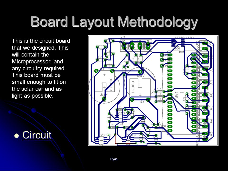 Ryan Board Layout Methodology Circuit Circuit Circuit This is the circuit board that we designed.