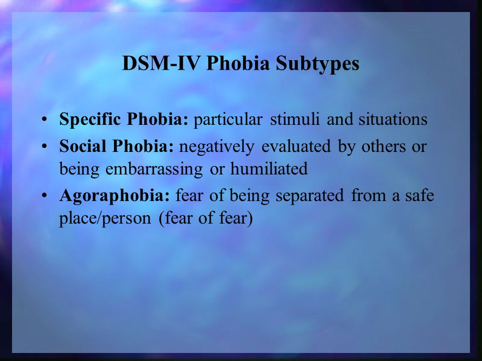 DSM-IV Phobia Subtypes Specific Phobia: particular stimuli and situations Social Phobia: negatively evaluated by others or being embarrassing or humiliated Agoraphobia: fear of being separated from a safe place/person (fear of fear)