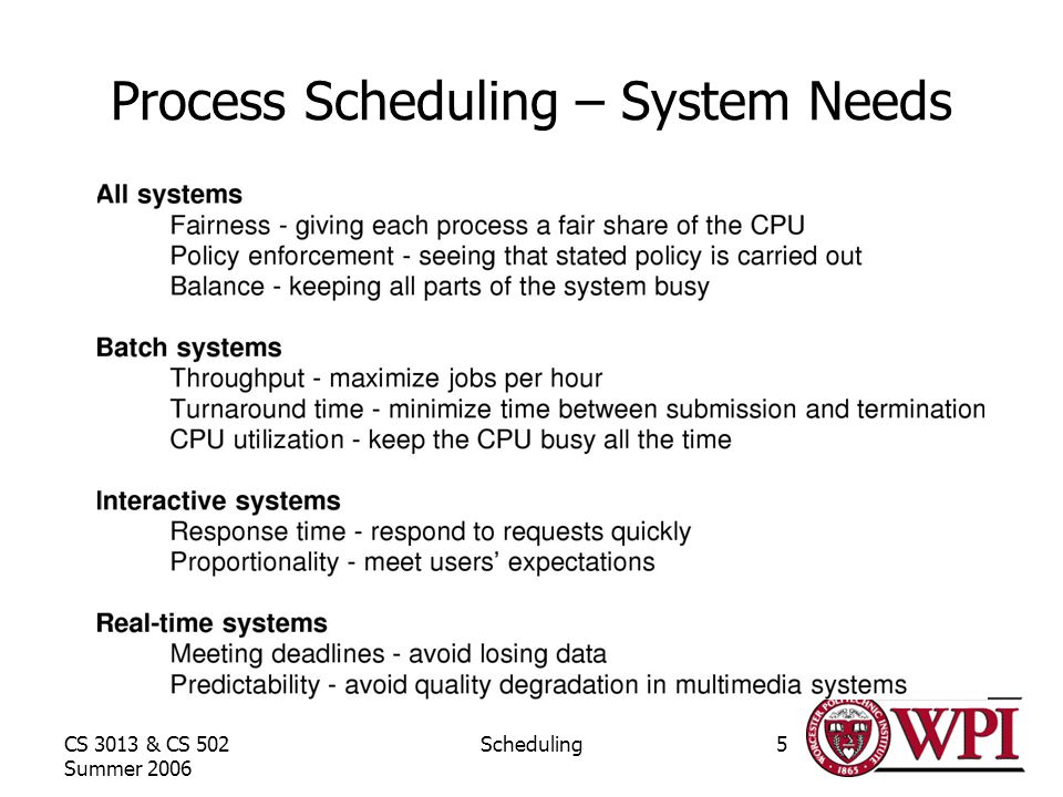 CS 3013 & CS 502 Summer 2006 Scheduling5 Process Scheduling – System Needs