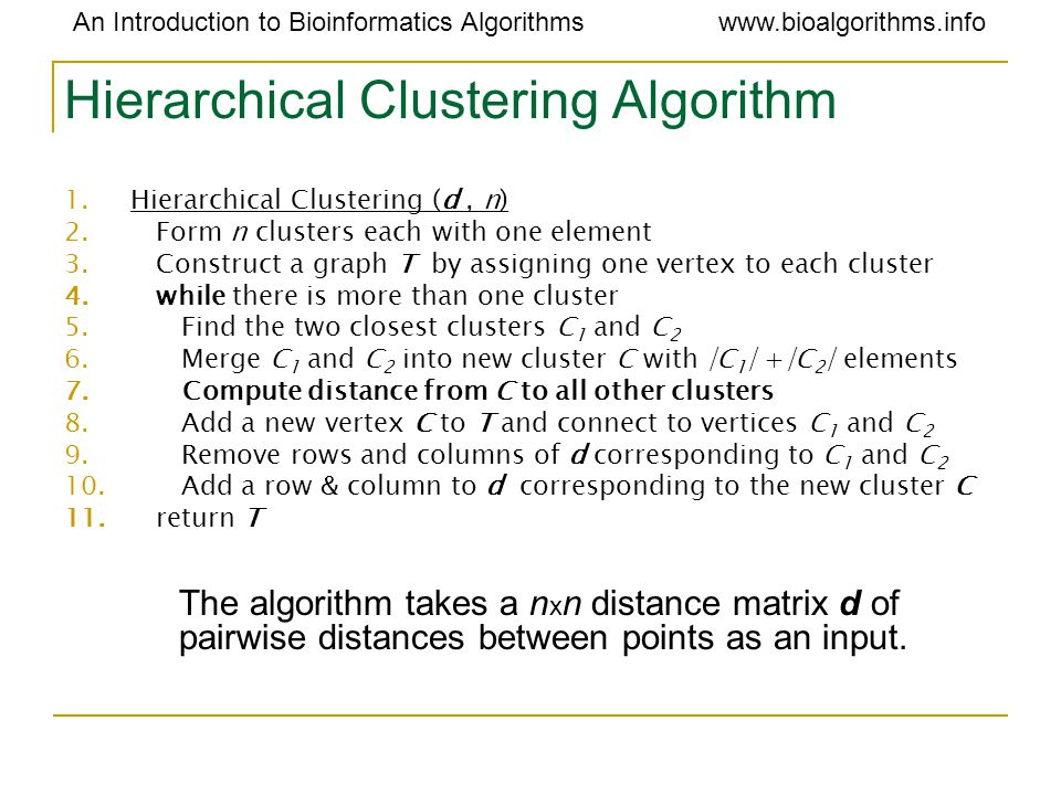 An Introduction to Bioinformatics Algorithmswww.bioalgorithms.info Hierarchical Clustering Algorithm 1.Hierarchical Clustering (d, n) 2.