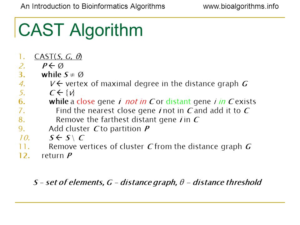 An Introduction to Bioinformatics Algorithmswww.bioalgorithms.info CAST Algorithm 1.CAST(S, G, θ) 2.