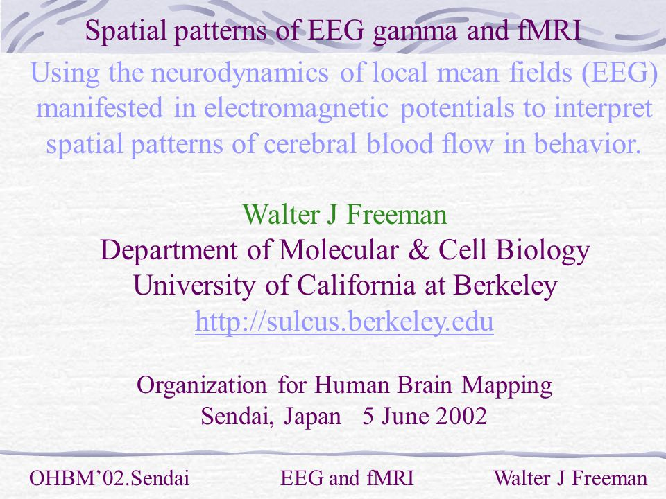 Spatial patterns of EEG gamma and fMRI OHBM'02.Sendai EEG and fMRI Walter J Freeman Using the neurodynamics of local mean fields (EEG) manifested in electromagnetic potentials to interpret spatial patterns of cerebral blood flow in behavior.