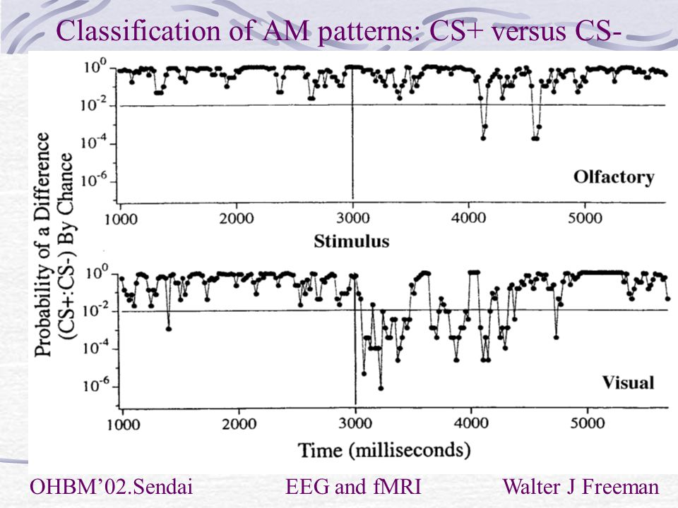 Classification of AM patterns: CS+ versus CS- OHBM'02.Sendai EEG and fMRI Walter J Freeman