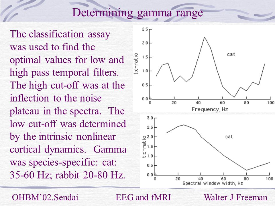 Determining gamma range OHBM'02.Sendai EEG and fMRI Walter J Freeman The classification assay was used to find the optimal values for low and high pass temporal filters.