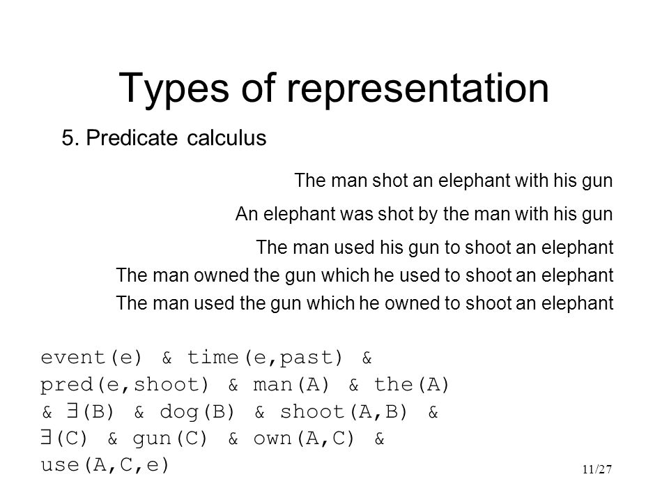 11/27 Types of representation The man owned the gun which he used to shoot an elephant 5.