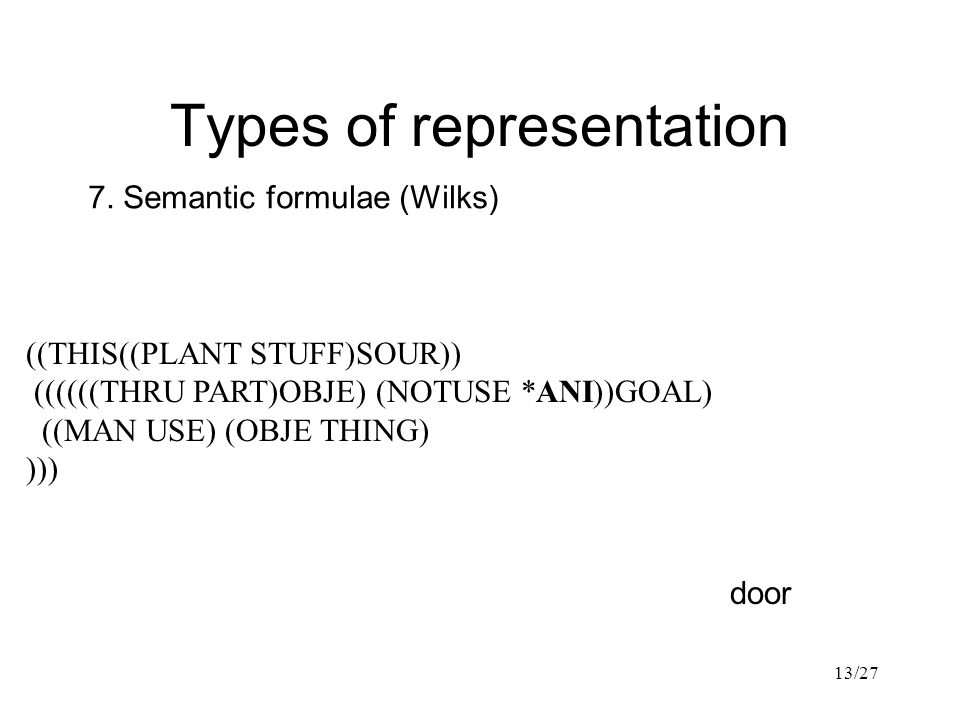 13/27 Types of representation 7.