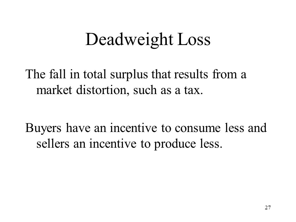 27 Deadweight Loss The fall in total surplus that results from a market distortion, such as a tax.