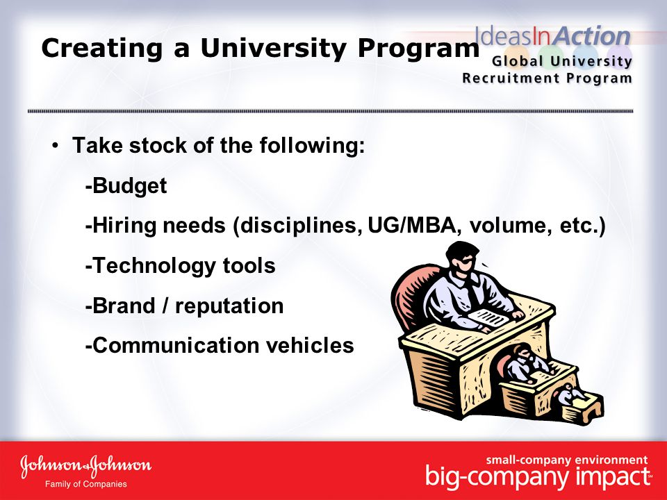 Creating a University Program Take stock of the following: -Budget -Hiring needs (disciplines, UG/MBA, volume, etc.) -Technology tools -Brand / reputation -Communication vehicles