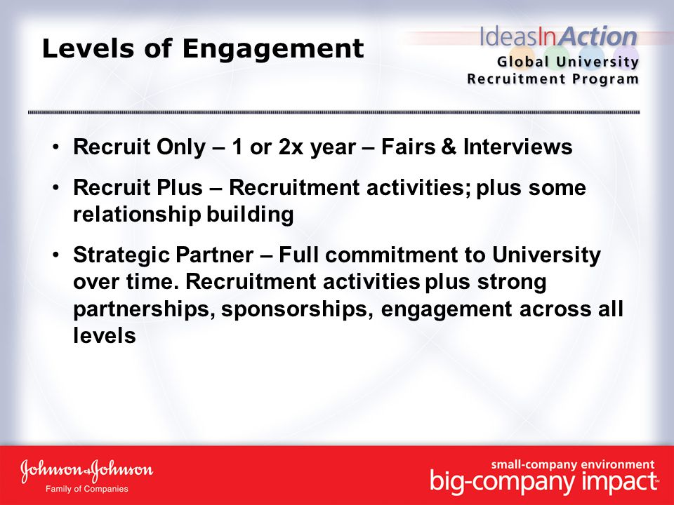 Levels of Engagement Recruit Only – 1 or 2x year – Fairs & Interviews Recruit Plus – Recruitment activities; plus some relationship building Strategic Partner – Full commitment to University over time.