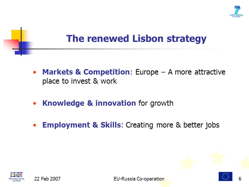 22 Feb 2007EU-Russia Co-operation6 Markets & Competition: Europe – A more attractive place to invest & work Knowledge & innovation for growth Employment & Skills: Creating more & better jobs The renewed Lisbon strategy