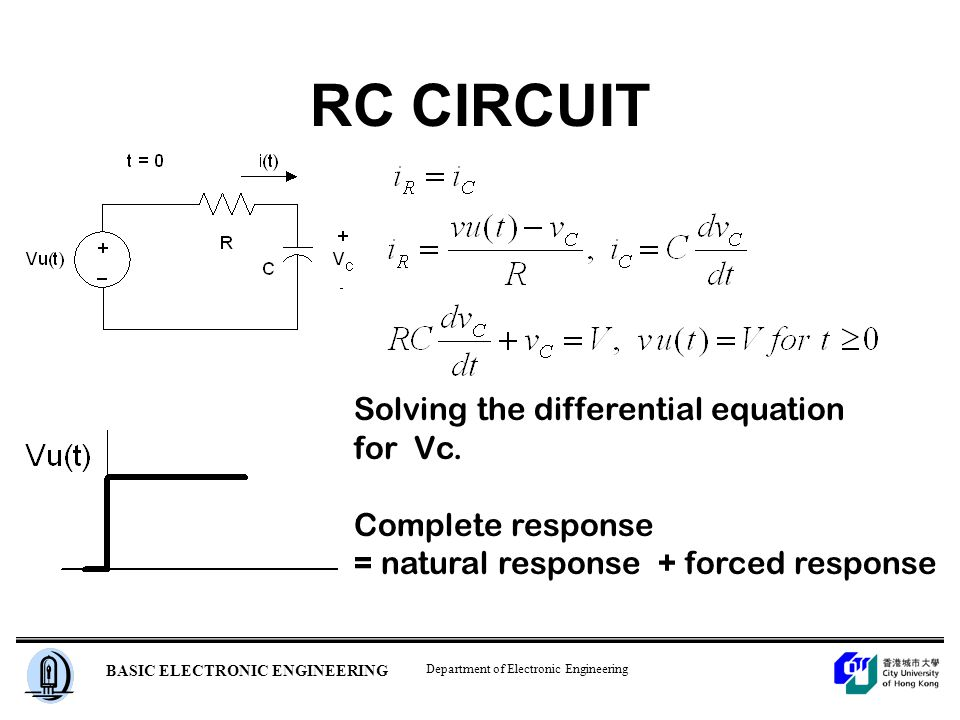 Department of Electronic Engineering BASIC ELECTRONIC ENGINEERING RC CIRCUIT Solving the differential equation for Vc.