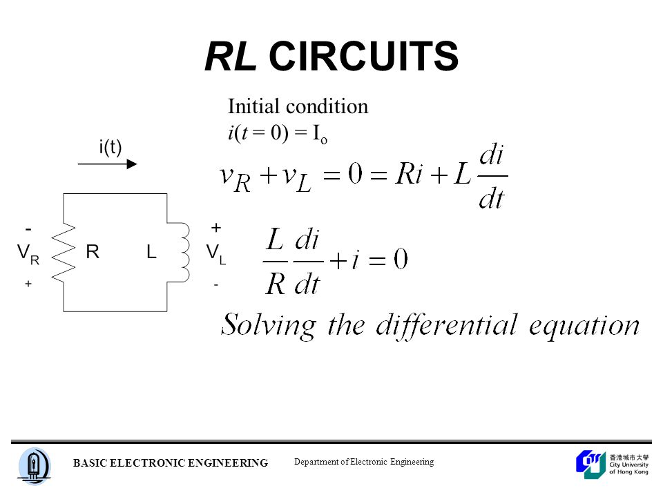 Department of Electronic Engineering BASIC ELECTRONIC ENGINEERING RL CIRCUITS Initial condition i(t = 0) = I o