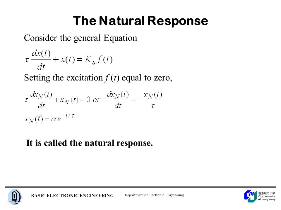 Department of Electronic Engineering BASIC ELECTRONIC ENGINEERING The Natural Response Consider the general Equation Setting the excitation f (t) equal to zero, It is called the natural response.