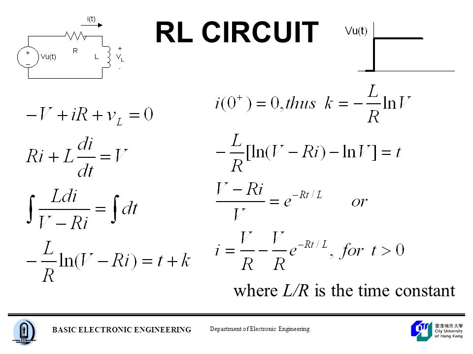 Department of Electronic Engineering BASIC ELECTRONIC ENGINEERING RL CIRCUIT where L/R is the time constant