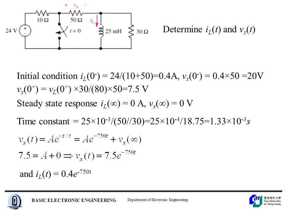 Department of Electronic Engineering BASIC ELECTRONIC ENGINEERING Determine i L (t) and v x (t) Initial condition i L (0 - ) = 24/(10+50)=0.4A, v x (0 - ) = 0.4×50 =20V v x (0 + ) = v L (0 + ) ×30/(80)×50=7.5 V Steady state response i L (∞) = 0 A, v x (∞) = 0 V Time constant = 25×10 -3 /(50//30)=25×10 -4 /18.75=1.33×10 -3 s and i L (t) = 0.4e -750t