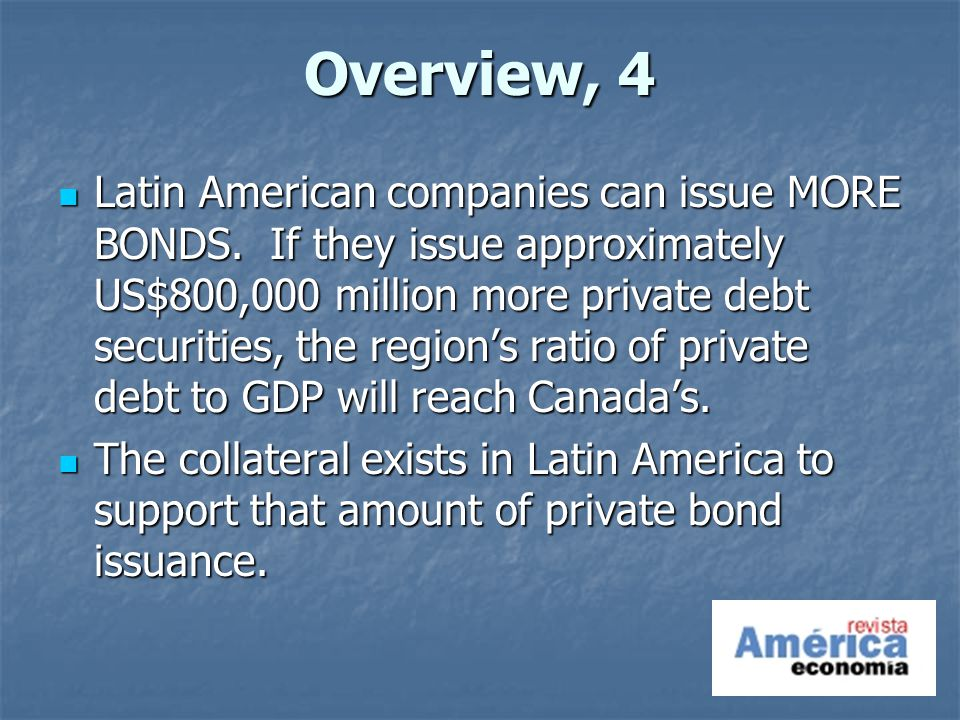 Overview, 4 Latin American companies can issue MORE BONDS.