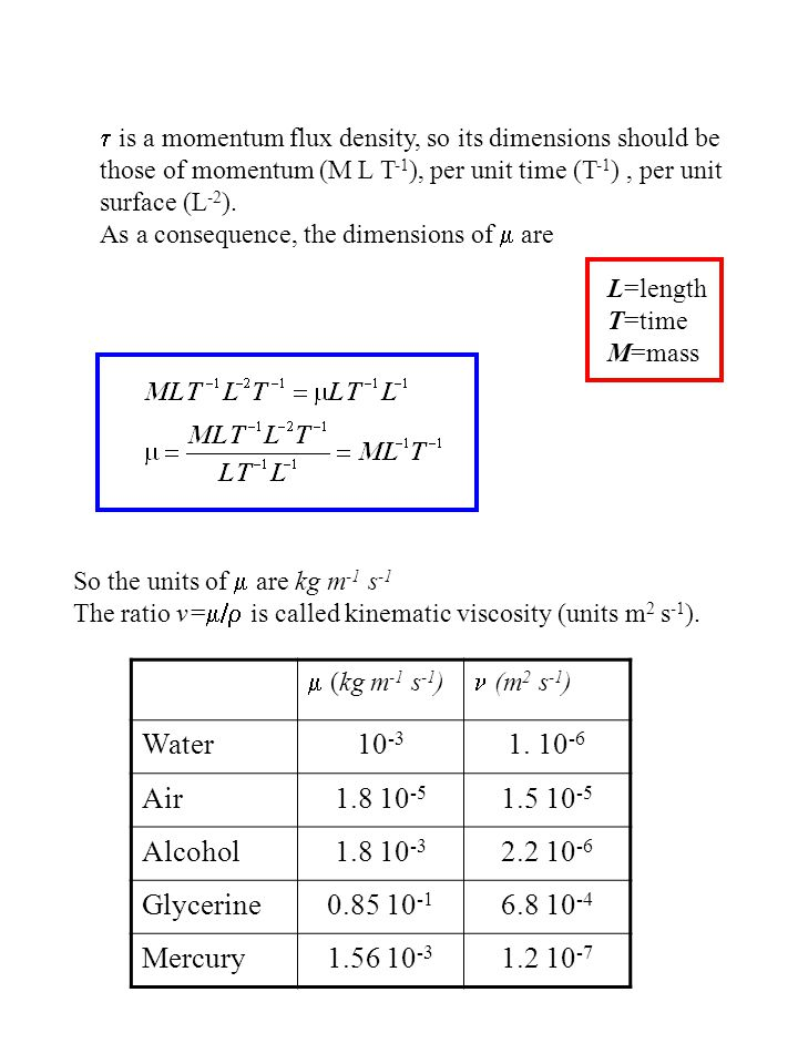 So the units of  are kg m -1 s -1 The ratio v=  is called kinematic viscosity (units m 2 s -1 ).