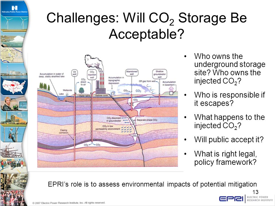 13 Challenges: Will CO 2 Storage Be Acceptable. Who owns the underground storage site.