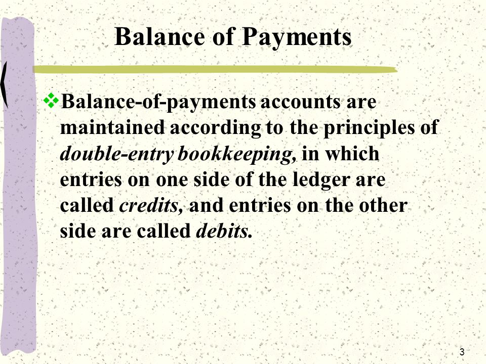 3 Balance of Payments  Balance-of-payments accounts are maintained according to the principles of double-entry bookkeeping, in which entries on one side of the ledger are called credits, and entries on the other side are called debits.