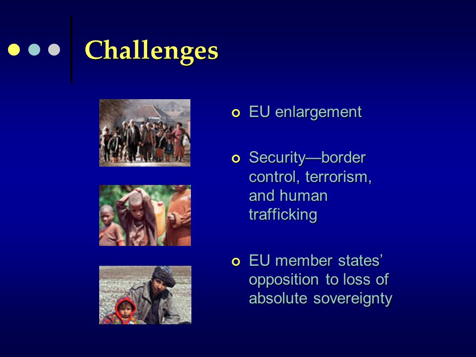 Challenges EU enlargement Security—border control, terrorism, and human trafficking EU member states' opposition to loss of absolute sovereignty