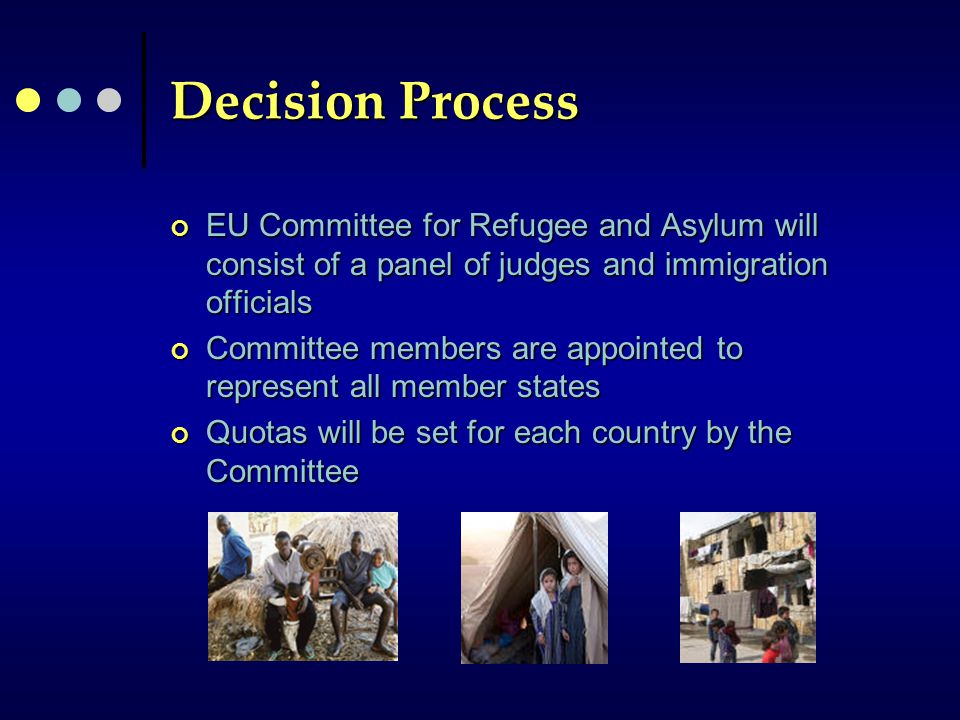 Decision Process EU Committee for Refugee and Asylum will consist of a panel of judges and immigration officials Committee members are appointed to represent all member states Quotas will be set for each country by the Committee