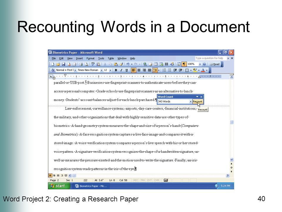 Word Project 2: Creating a Research Paper 40 Recounting Words in a Document