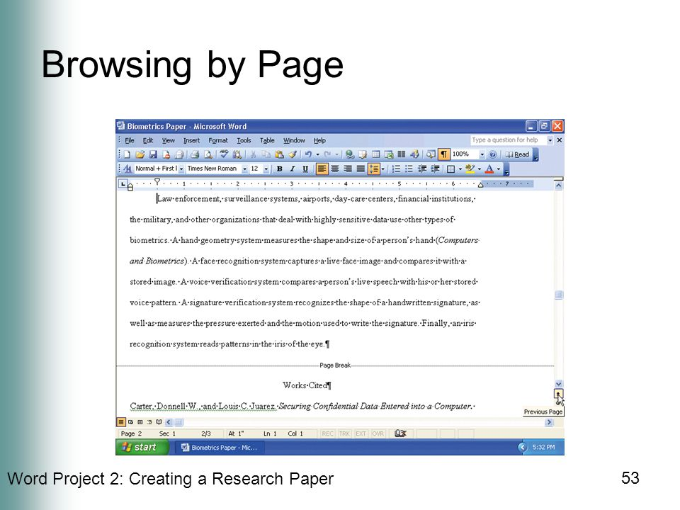 Word Project 2: Creating a Research Paper 53 Browsing by Page
