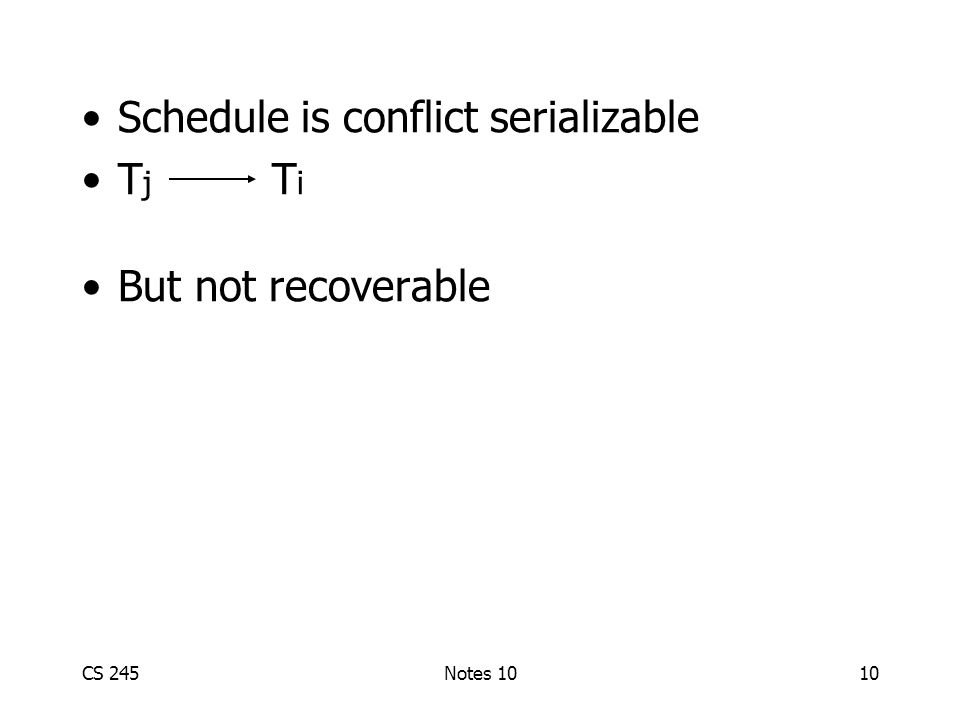 CS 245Notes 1010 Schedule is conflict serializable T j T i But not recoverable