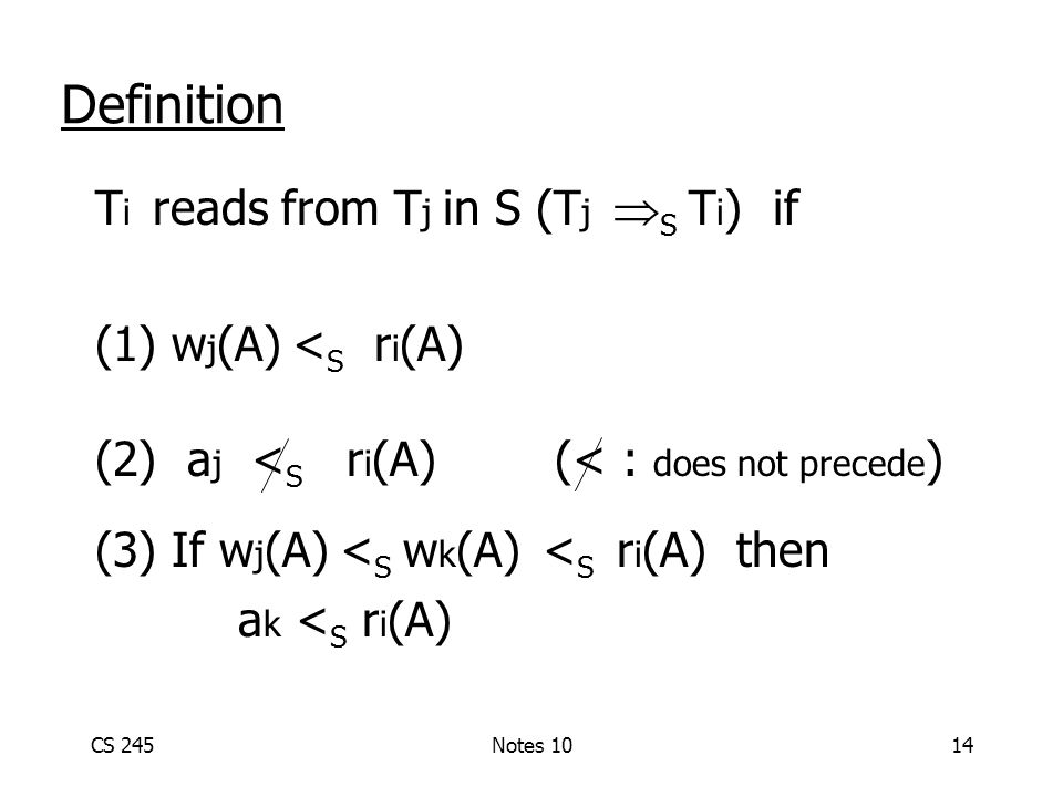 CS 245Notes 1014 Definition T i reads from T j in S (T j  S T i ) if (1) w j (A) < S r i (A) (2) a j < S r i (A) (< : does not precede ) (3) If w j (A) < S w k (A) < S r i (A) then a k < S r i (A)