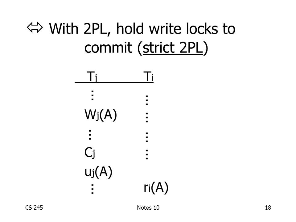 CS 245Notes 1018  With 2PL, hold write locks to commit (strict 2PL) T j T i W j (A) C j u j (A) r i (A)...