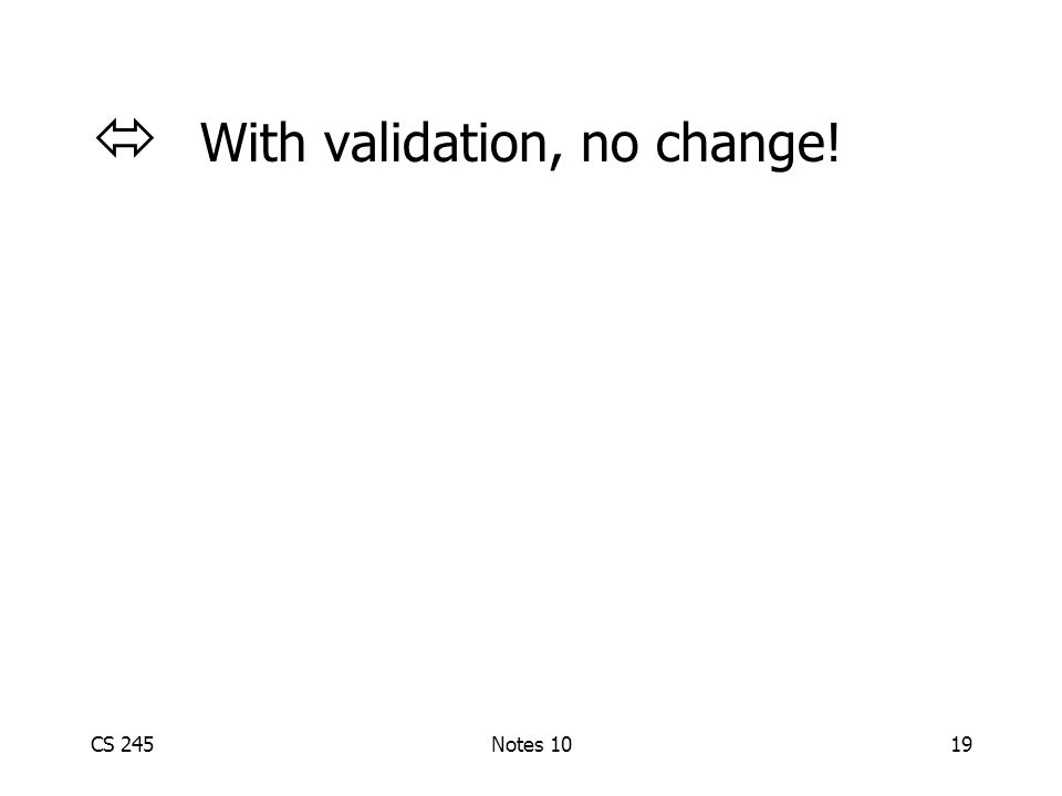 CS 245Notes 1019  With validation, no change!