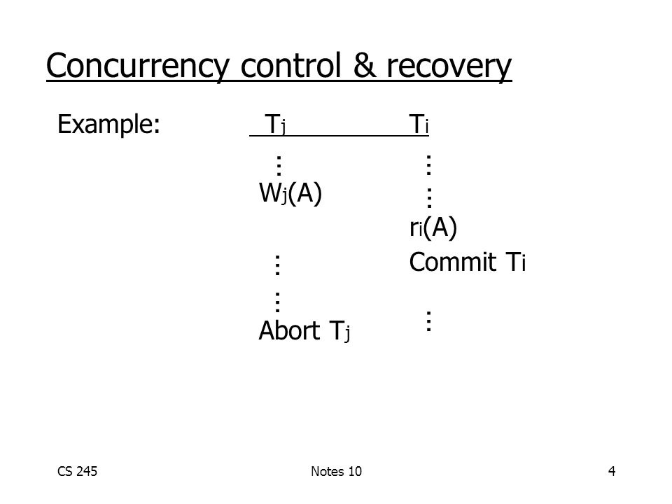 CS 245Notes 104 Example: T j T i W j (A) r i (A) Commit T i Abort T j Concurrency control & recovery … … … … … …