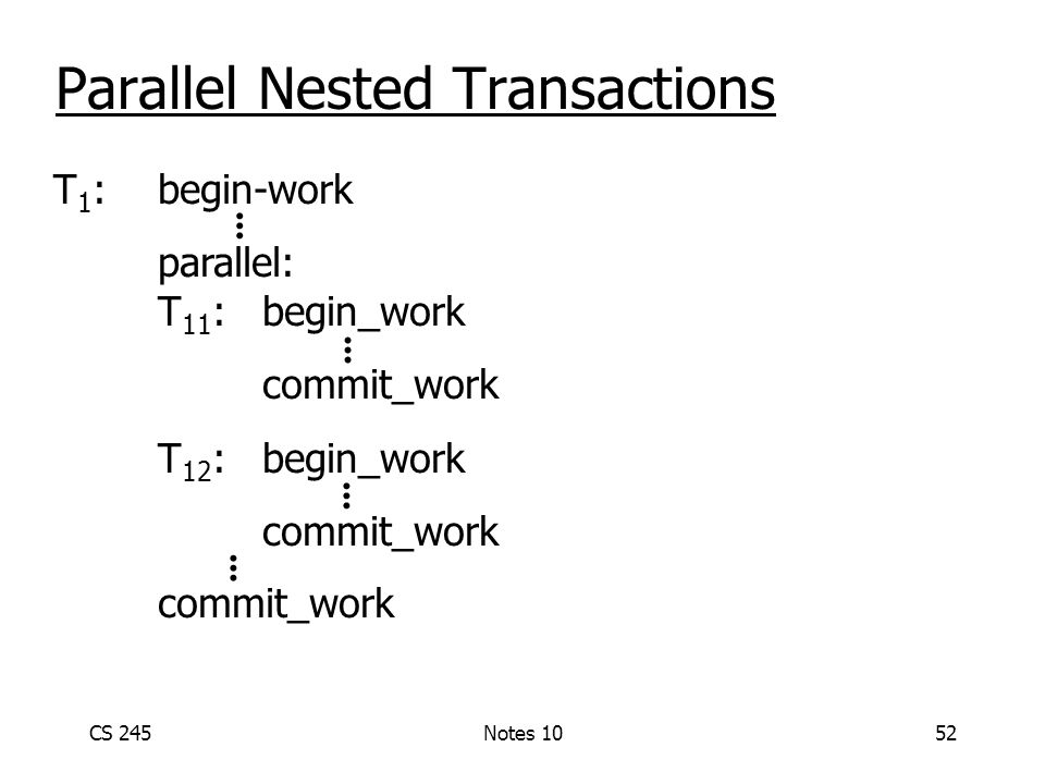 CS 245Notes 1052 Parallel Nested Transactions T 1 : begin-work parallel: T 11 :begin_work commit_work T 12 :begin_work commit_work...