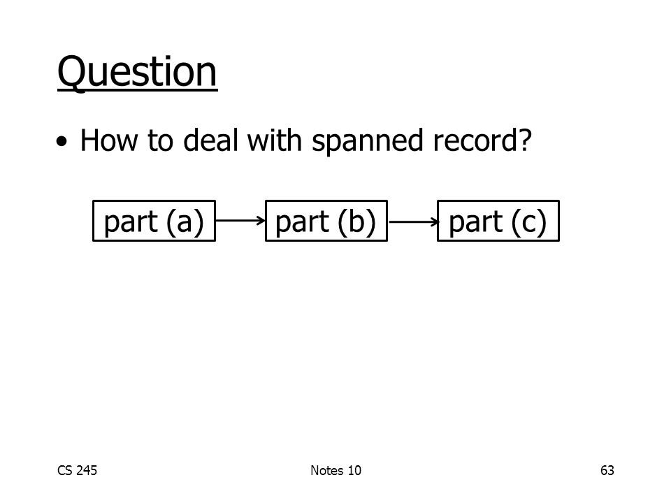 Question How to deal with spanned record CS 245Notes 1063 part (a)part (b)part (c)