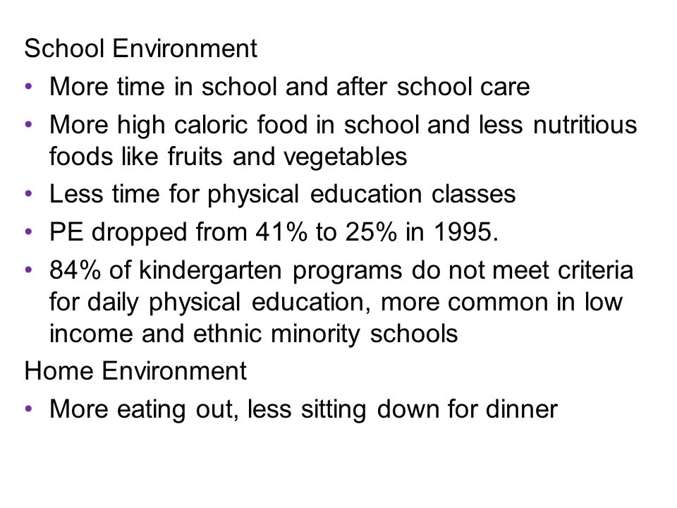 School Environment More time in school and after school care More high caloric food in school and less nutritious foods like fruits and vegetables Less time for physical education classes PE dropped from 41% to 25% in 1995.