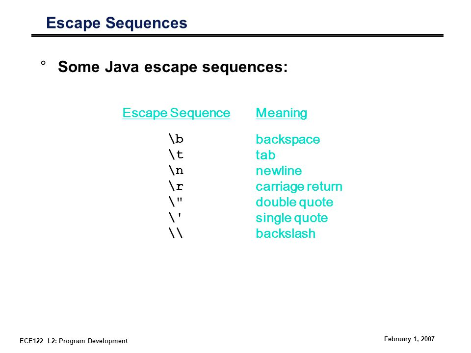 ECE122 L2: Program Development February 1, 2007 Escape Sequences °Some Java escape sequences: Escape Sequence \b \t \n \r \ \ \\ Meaning backspace tab newline carriage return double quote single quote backslash