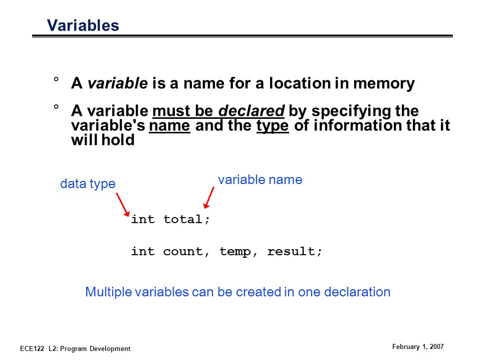 ECE122 L2: Program Development February 1, 2007 Variables °A variable is a name for a location in memory °A variable must be declared by specifying the variable s name and the type of information that it will hold int total; int count, temp, result; Multiple variables can be created in one declaration data type variable name