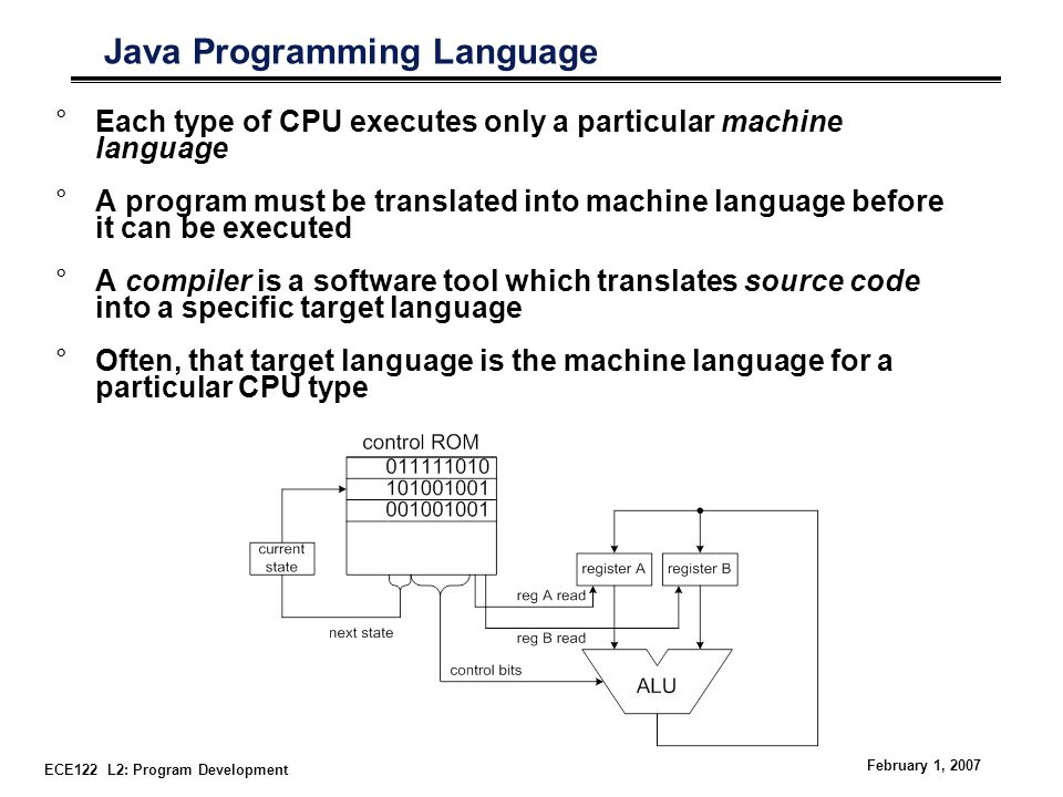 ECE122 L2: Program Development February 1, 2007 Java Programming Language °Each type of CPU executes only a particular machine language °A program must be translated into machine language before it can be executed °A compiler is a software tool which translates source code into a specific target language °Often, that target language is the machine language for a particular CPU type