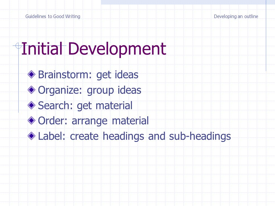 Brainstorm: get ideas Organize: group ideas Search: get material Order: arrange material Label: create headings and sub-headings Initial Development Guidelines to Good WritingDeveloping an outline