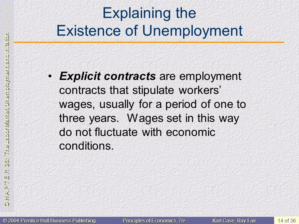 C H A P T E R 26: The Labor Market, Unemployment, and Inflation © 2004 Prentice Hall Business PublishingPrinciples of Economics, 7/eKarl Case, Ray Fair 14 of 36 Explaining the Existence of Unemployment Explicit contracts are employment contracts that stipulate workers' wages, usually for a period of one to three years.