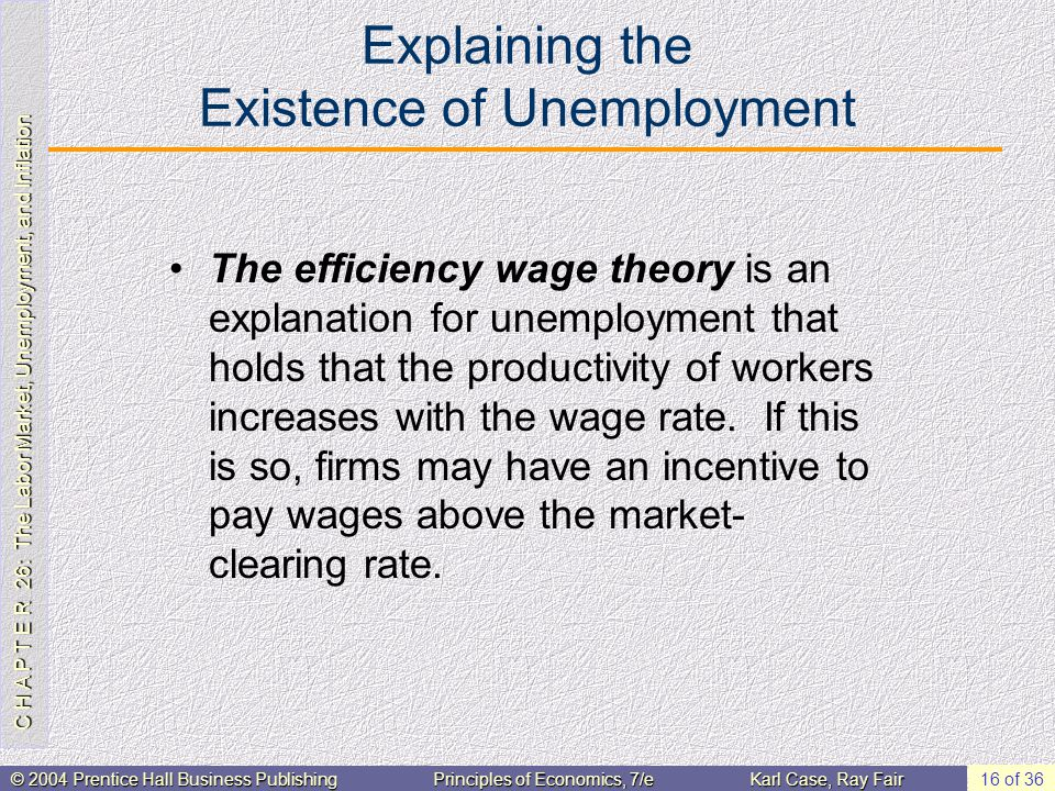 C H A P T E R 26: The Labor Market, Unemployment, and Inflation © 2004 Prentice Hall Business PublishingPrinciples of Economics, 7/eKarl Case, Ray Fair 16 of 36 Explaining the Existence of Unemployment The efficiency wage theory is an explanation for unemployment that holds that the productivity of workers increases with the wage rate.