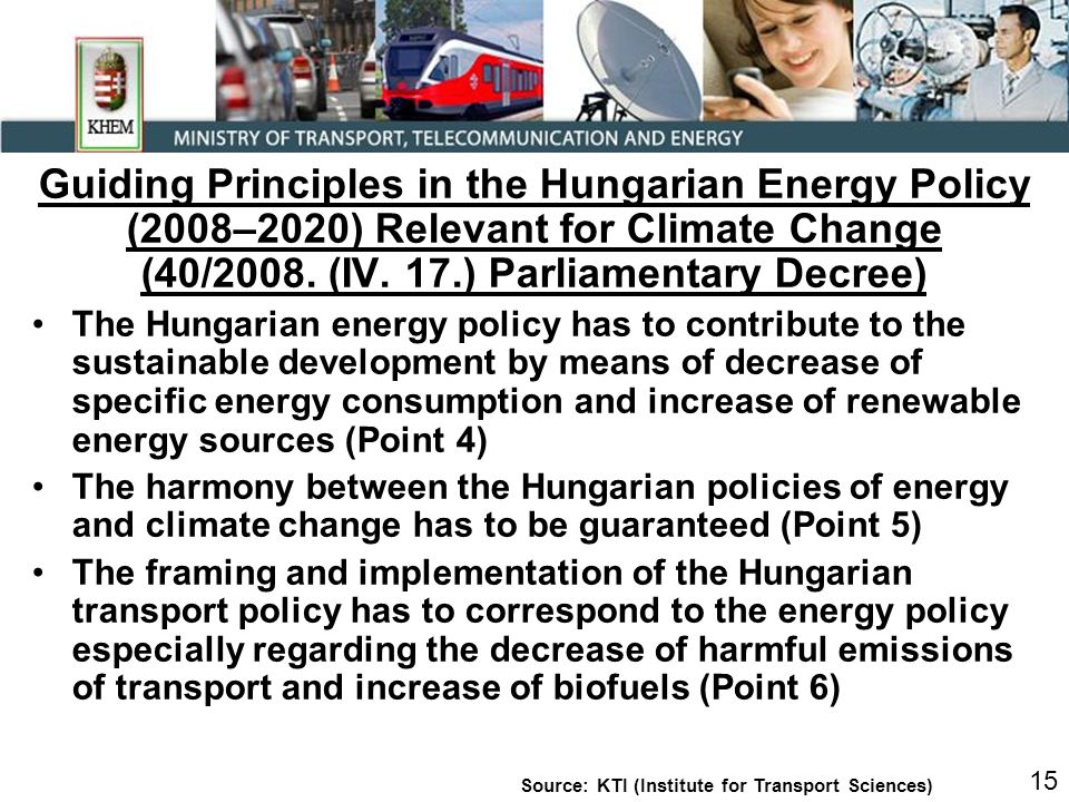 Guiding Principles in the Hungarian Energy Policy (2008–2020) Relevant for Climate Change (40/2008.