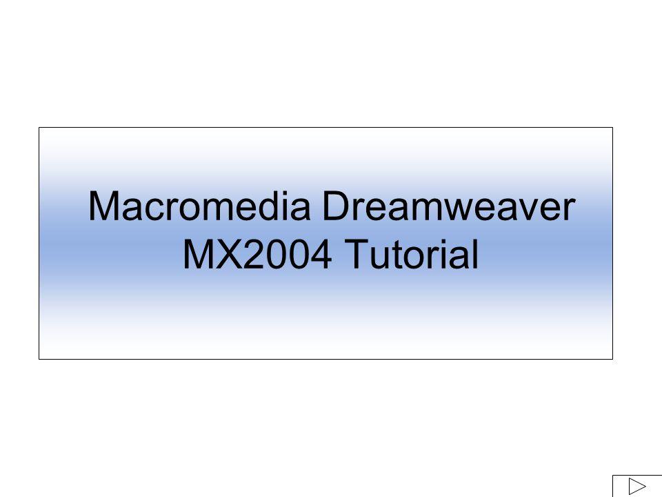 Macromedia Dreamweaver MX2004 Tutorial  Launch Dreamweaver