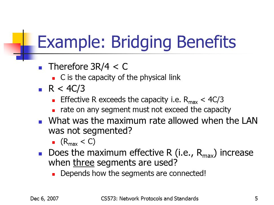 Dec 6, 2007CS573: Network Protocols and Standards5 Example: Bridging Benefits Therefore 3R/4 < C C is the capacity of the physical link R < 4C/3 Effective R exceeds the capacity i.e.