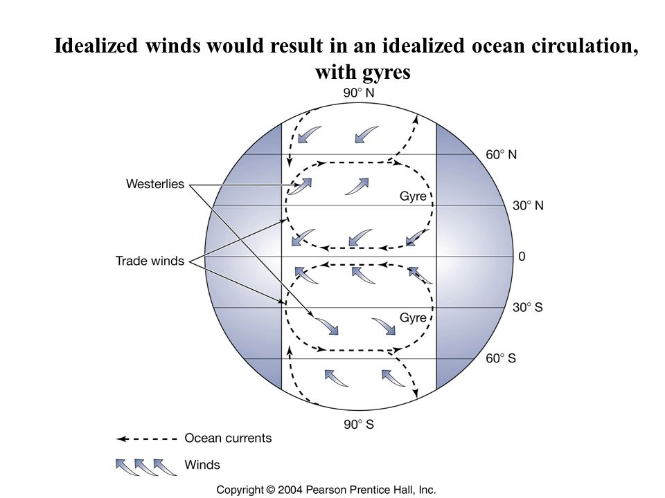 Idealized winds would result in an idealized ocean circulation, with gyres