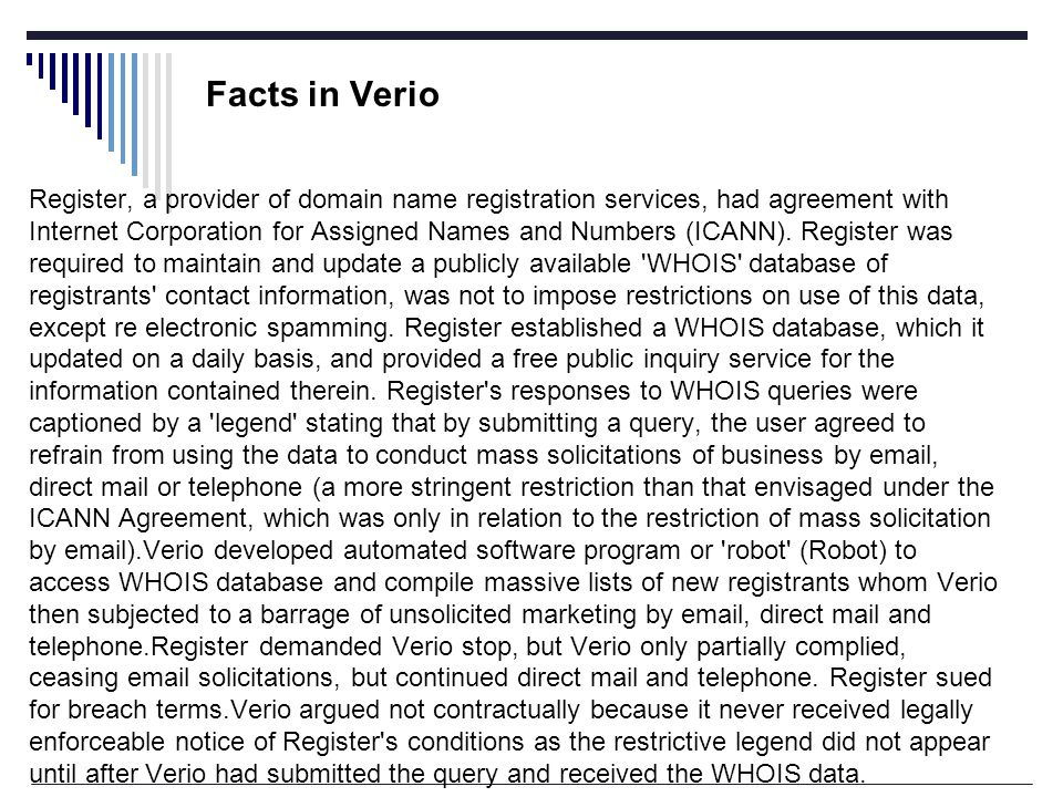 Facts in Verio Register, a provider of domain name registration services, had agreement with Internet Corporation for Assigned Names and Numbers (ICANN).