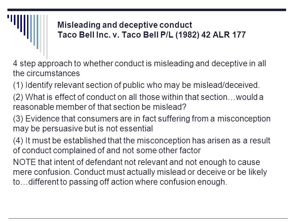Misleading and deceptive conduct Taco Bell Inc. v.