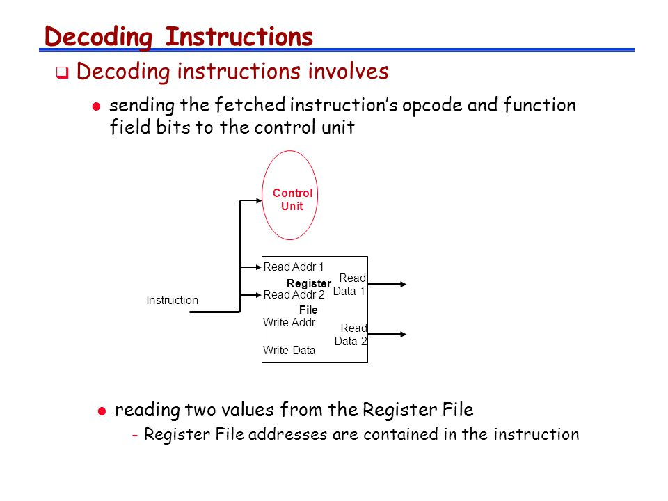 Decoding Instructions  Decoding instructions involves l sending the fetched instruction's opcode and function field bits to the control unit Instruction Write Data Read Addr 1 Read Addr 2 Write Addr Register File Read Data 1 Read Data 2 Control Unit l reading two values from the Register File -Register File addresses are contained in the instruction