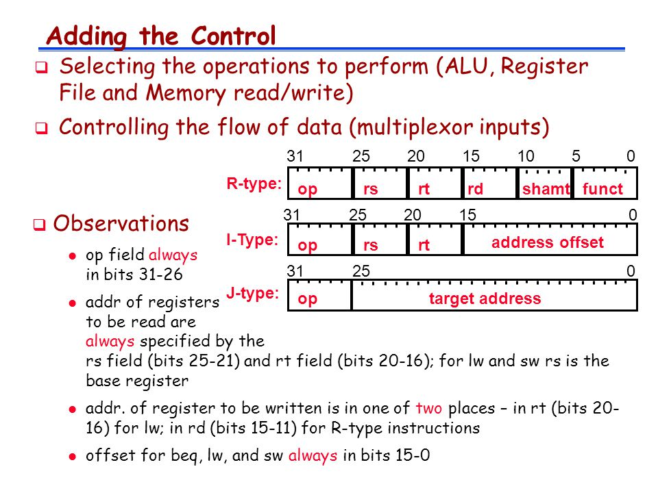 Adding the Control  Selecting the operations to perform (ALU, Register File and Memory read/write)  Controlling the flow of data (multiplexor inputs) I-Type: oprsrt address offset R-type: oprsrtrdfunctshamt 10  Observations l op field always in bits l addr of registers to be read are always specified by the rs field (bits 25-21) and rt field (bits 20-16); for lw and sw rs is the base register l addr.